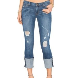 Hudson Distressed Muse Cropped Skinny Jeans